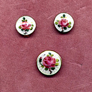 Norway Sterling Enamel Rose Pin & Earring Set