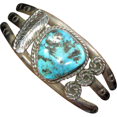 Native American Silver Cuff Bracelet with Turquoise Stone