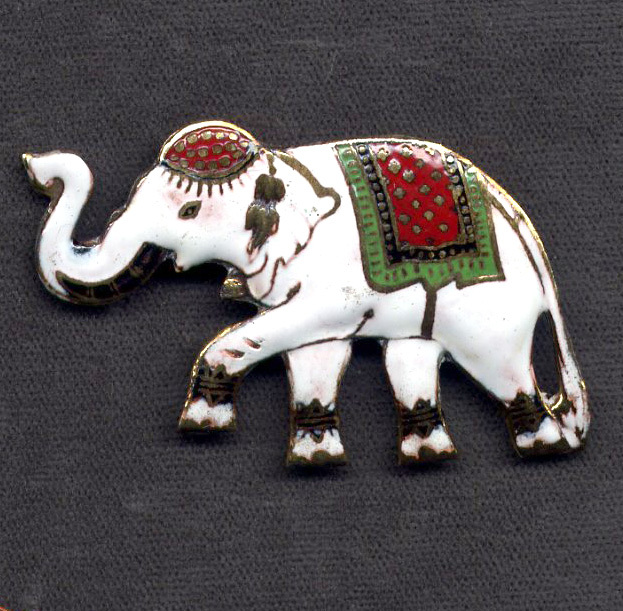 Siam Silver and Multicolored Enamel Elephant Pin