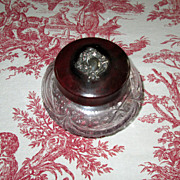 Pressed Glass Vanity Jar with Sterling-Trimmed Lid - Red Tag Sale Item