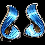Norway Sterling and Blue Enamel Curvy Clip Earrings