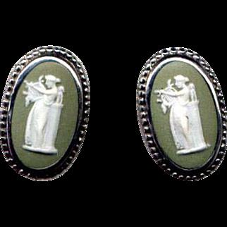 Sterling Silver Green Wedgwood Cameo Screw-Back Earrings