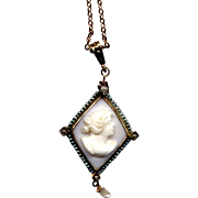 10K Coral Cameo Pendant with Seed Pearls