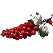 800 Silver and Red Coral Grapes Pin