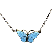 Norway Sterling & Blue Guilloche Enamel Butterfly Necklace