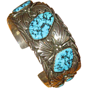 Signed Navaho Sterling Turquoise Cuff Bracelet
