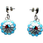 Zuni Sterling & Channel Inlay Drop Earrings