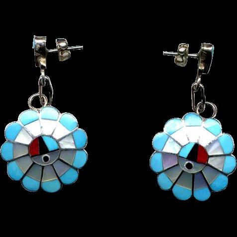 Zuni Sterling & Channel Inlay Drop Earrings