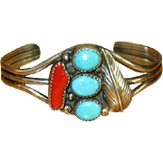 Sterling Navaho Cuff Bracelet with Turquoise & Coral