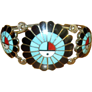 Zuni Sterling & Channel Inlay Cuff Bracelet