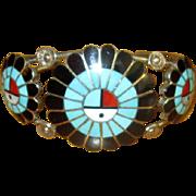 Zuni Sterling & Channel Inlay Cuff Bracelet