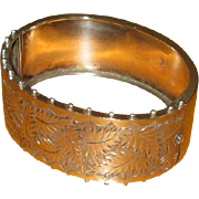 English Sterling Bangle Bracelet with Leaf Design