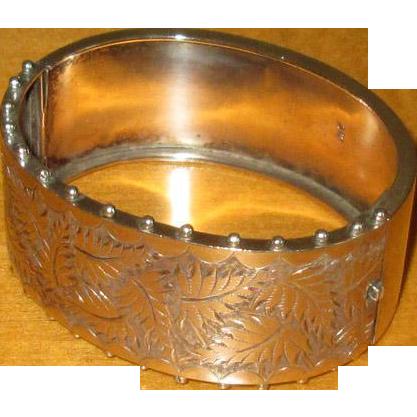 English Sterling Bangle Bracelet with Leaf Design