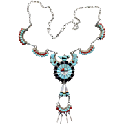 Native American Zuni Inlay Thunderbird Necklace