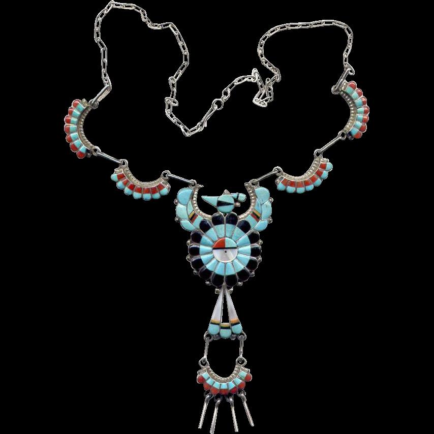 Native American Zuni Inlay Thunderbird Necklace