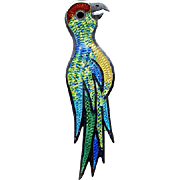 Mexico Sterling & Enamel Parrot Pin