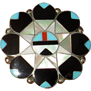 Native American Zuni Sterling Inlay Sunface Pin or Pendant
