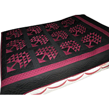 """Hand-Made Black and Maroon Amish """"Tree of Life"""" Quilt"""