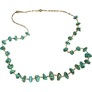 Native American Navaho Turquoise and Shell Nugget Necklace