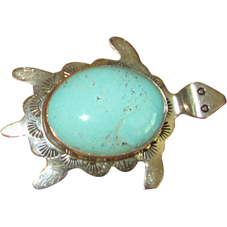 Native American Navaho Sterling & Turquoise Turtle Pin