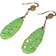 Vintage Green Celluloid Drop Earrings with Crystals