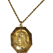 Victorian Gold-Filled Locket Necklace with Woman's Face