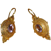 Silver-Gilt Drop Amethyst Earrings with Hooks