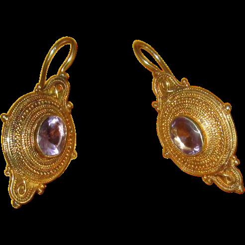 Silver-Gilt Drop Amethyst Earrings with Hooks