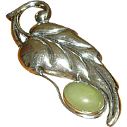 Older Mexican Silver Pin with Jade Stone