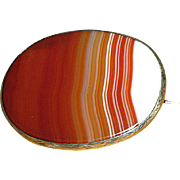 Antique Victorian Silver and Banded Agate Brooch