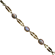 Art Deco Vermeil Link Bracelet with Blue Stones