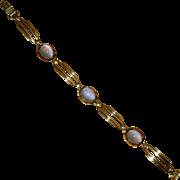 Art Deco Vermeil Link Bracelet with Blue Stones