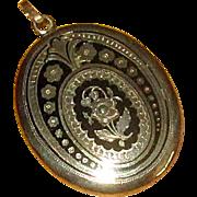 Victorian Era 14K Gold Locket with Black Pique Enamel Work