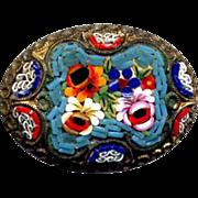 Costume Fancy Brass Mosaic Millefiori Pin
