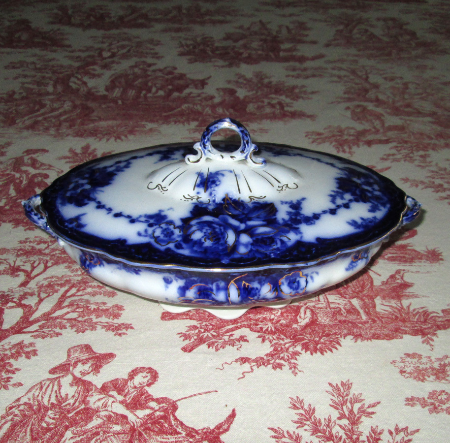 "English Flow Blue Pottery ""Ovando"" Covered Vegetable Dish"