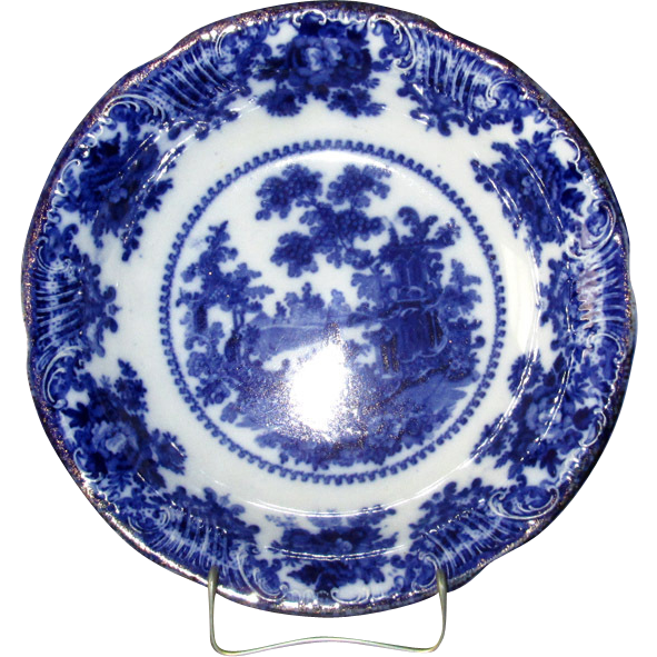 "English Pottery Flow Blue ""Fairy Villas"" Serving Bowl"