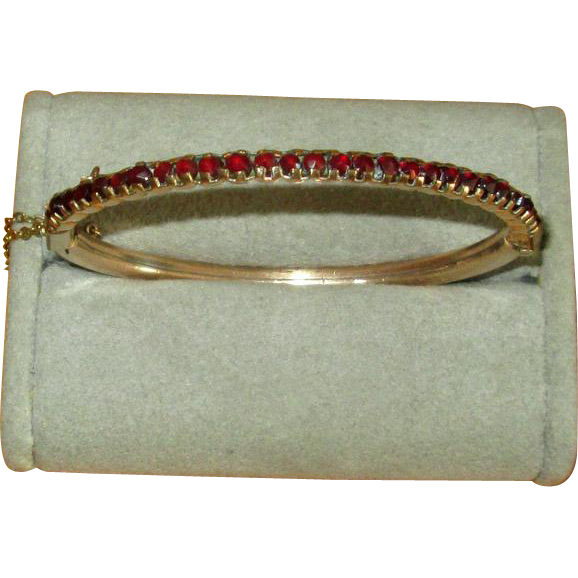 Victorian Gold-Filled Bangle Bracelet with Rose-Cut Garnets