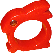 Red Bakelite Rabbit Napkin Ring with Glass Eyes