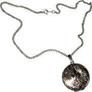 Round Sterling Locket Necklace with Fleur de Lis