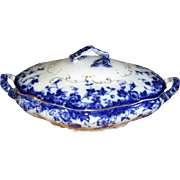 Flow Blue Pottery Covered Vegetable Dish