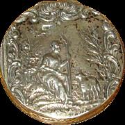 930 Silver Hallmarked Pillbox with Shepherdess Motif