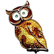 Norway Sterling & Guilloche Enamel Owl Pin