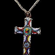 Costume Brass Italian Mosaic Millefiori Cross