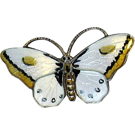 Norway White & Yellow Sterling Enamel Butterfly Pin
