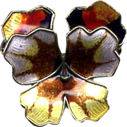 Norway Sterling D-A Multi-Colored Pansy Pin