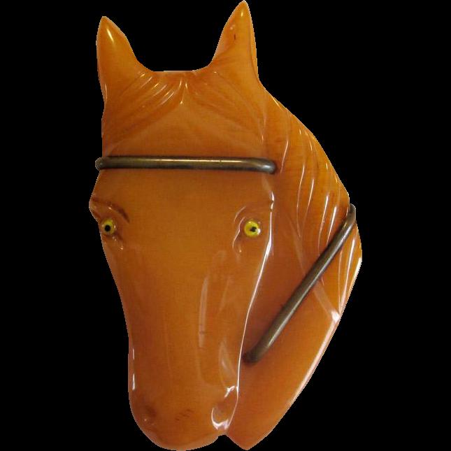 Large Caramel Vintage Bakelite Horse-Head Pin