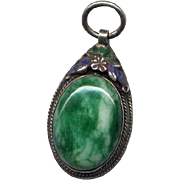 Vintage Asian Jade Pendant with Enamel
