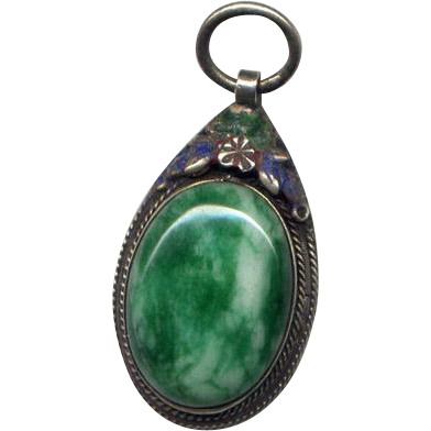 Vintage Asian Jade Pendant with Enamel