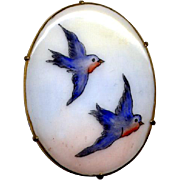 Hand Painted Porcelain Pin with Bluebirds