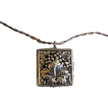 Sterling Silver Repousse Pillbox with Chain